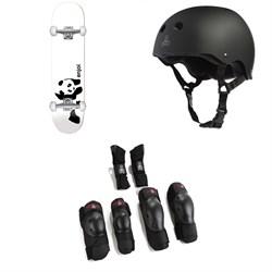 Enjoi Whitey Panda FP 7.75 Skateboard Complete + Triple 8 Sweatsaver Liner Skateboard Helmet + Triple 8 Saver Series High Impact 3 Pack Skateboard Pad Set