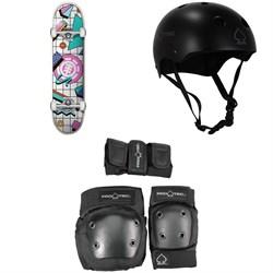 Element Off The Charts 7.75 Skateboard Complete + Pro-Tec Classic Skate Skateboard Helmet + Street Gear Junior Skateboard Pads 3-Pack - Big Kids'