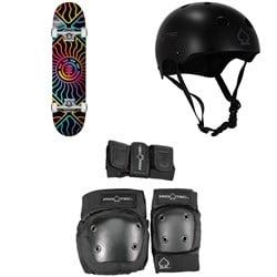 Element Solar Vibes 7.75 Skateboard Complete + Pro-Tec Classic Skate Skateboard Helmet + Street Gear Junior Skateboard Pads