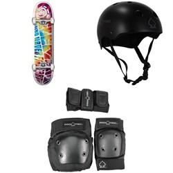 Element Trip Out 7.75 Skateboard Complete + Pro-Tec Classic Skate Skateboard Helmet + Street Gear Junior Skateboard Pads 3-Pack - Big Kids'
