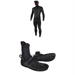 O'Neill 5.5/4+ Psycho Tech Chest Zip Hooded Wetsuit + 5mm Psycho Tech ST Wetsuit Boots