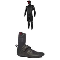 O'Neill 5.5/4+ Psycho Tech Chest Zip Hooded Wetsuit + 5mm Psycho Tech RT Wetsuit Boots