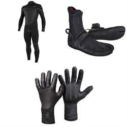 O'Neill 4/3+ Psycho Tech Chest Zip Wetsuit + 3/2 Psycho Tech Split Toe Wetsuit Boots + 3mm Psycho Tech Gloves