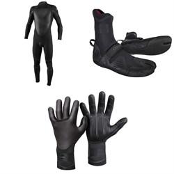 O'Neill 4/3+ Psycho Tech Back Zip Wetsuit + 3/2 Psycho Tech Split Toe Wetsuit Boots + 3mm Psycho Tech Gloves