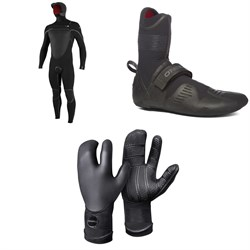 O'Neill 5.5/4+ Psycho Tech Chest Zip Hooded Wetsuit + 5mm Psycho Tech RT Wetsuit Boots + 5mm Psycho Tech Lobster Gloves