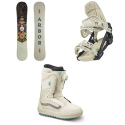 Arbor Cadence Rocker Snowboard + Acacia Snowboard Bindings + Vans Encore OG Snowboard Boots - Women's 2022