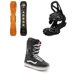 Arbor Westmark Camber Snowboard + Hemlock Snowboard Bindings + Vans Invado OG Snowboard Boots 2022