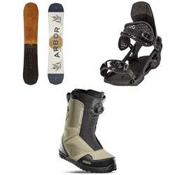 Arbor Element Camber Snowboard + Spruce Snowboard Bindings + thirtytwo STW Boa Snowboard Boots 2022