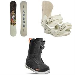 Arbor Cadence Rocker Snowboard + Sequoia MFR Snowboard Bindings + thirtytwo STW Boa Snowboard Boots - Women's 2022