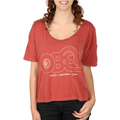 Obey Clothing Voices Record Vintage Crop T Shirt - Women's