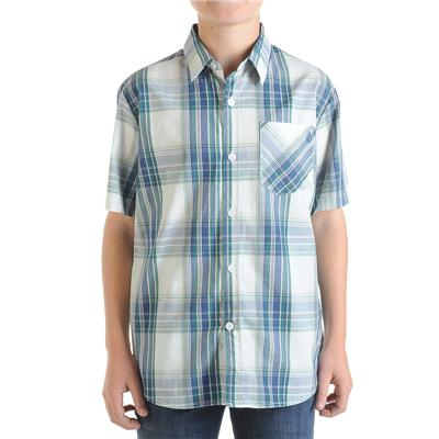 Volcom Ex Factor Plaid Short Sleeve Button Down Shirt - Youth - Boy's