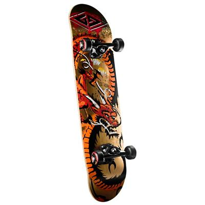 Golden Dragon Loop Stencil Dragon Skateboard Complete