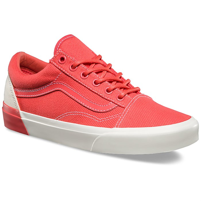 vans old skool blocked red and white trainers