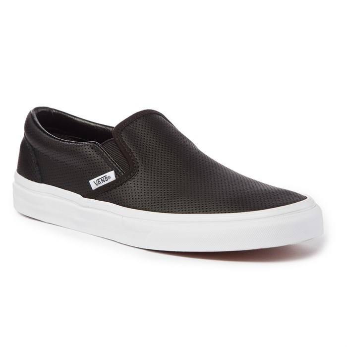 black leather vans slip on