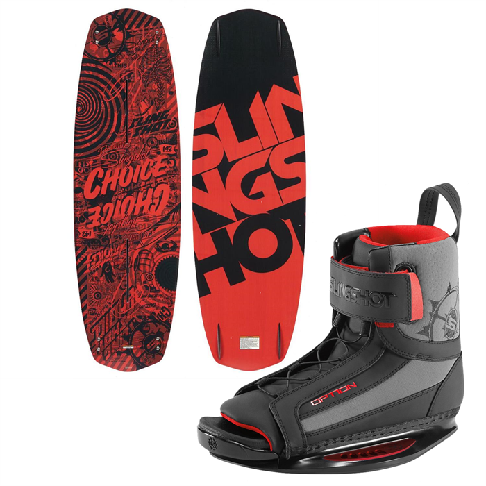 Slingshot - Choice Wakeboard + Option Open Toe Wakeboard Bindings 2014