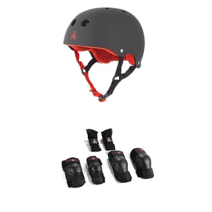 Triple 8 - Brainsaver w/ Sweatsaver Liner Skateboard Helmet + Saver Series High Impact 3 Pack Adult Skateboard Pad Set