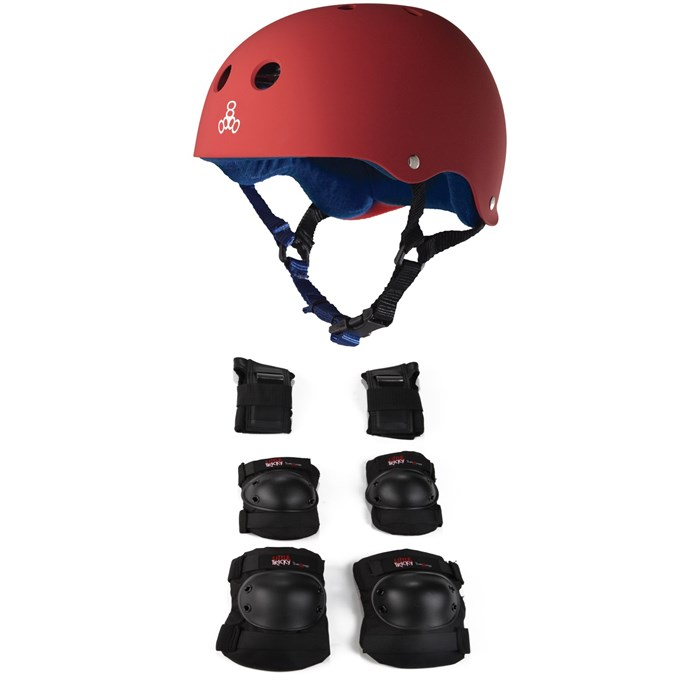 Triple 8 - Sweatsaver w/ Liner Skateboard Helmet + Little Tricky Jr. 3 Pack Skateboard Pad Set - Big Kids'