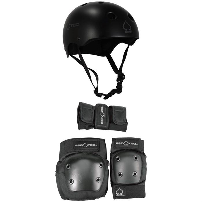 Pro-Tec - Classic Skateboard Helmet + Street Gear Junior Skateboard Pads