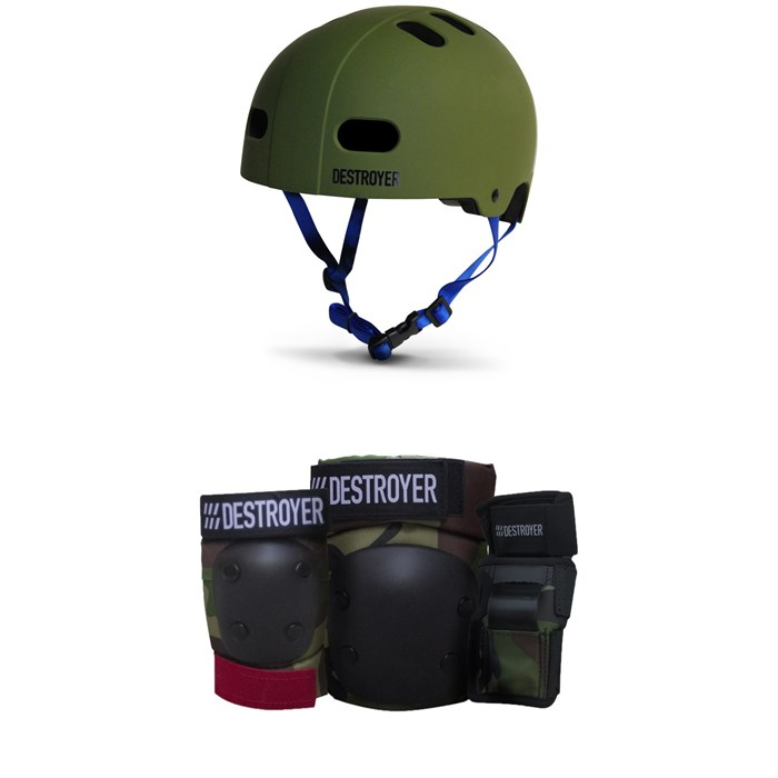 Destroyer - Certified Skateboard Helmet + Destroyer Grom Skateboard Pad Set - Kids'