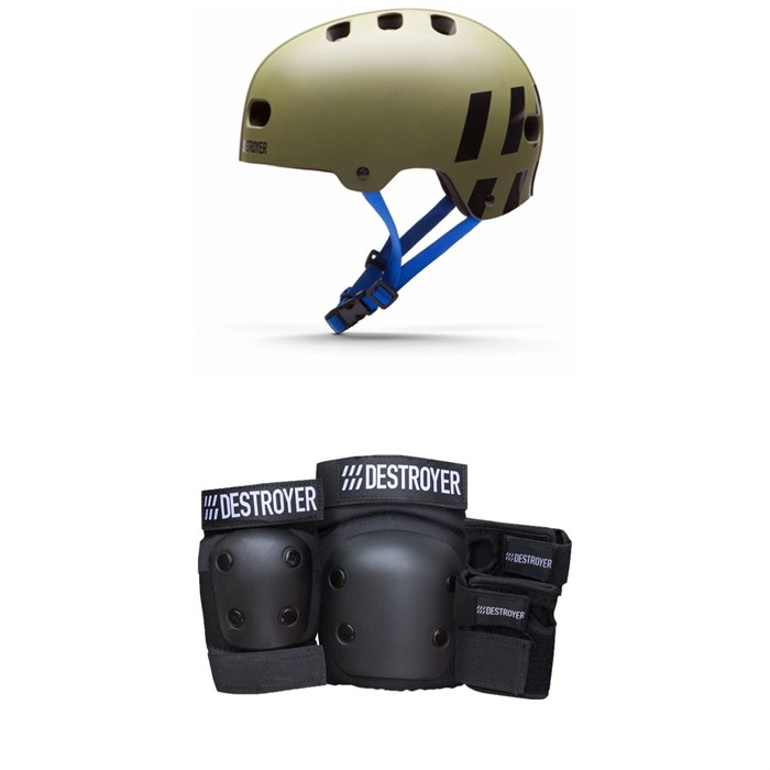 Destroyer - Multi-Impact Skateboard Helmet + Destroyer Grom Skateboard Pad Set - Kids'