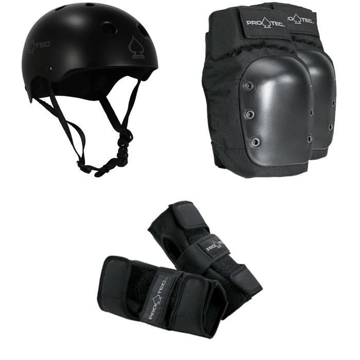 Pro-Tec - Classic Skateboard Helmet + Pro-Tec Street Skateboard Knee Pads + Pro-Tec Street Skateboard Wrist Pads