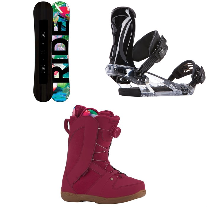 Ride - Saturday Snowboard - Women's + Ride KS Snowboard Bindings - Women's + Ride Sage Snowboard Boots - Women's 2018