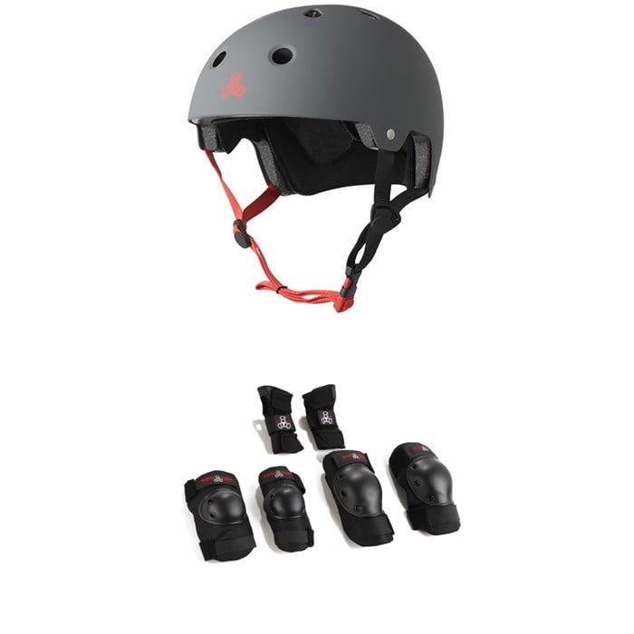 Triple 8 - Dual Certified EPS Skateboard Helmet + Saver Series High Impact Adult Pad Set