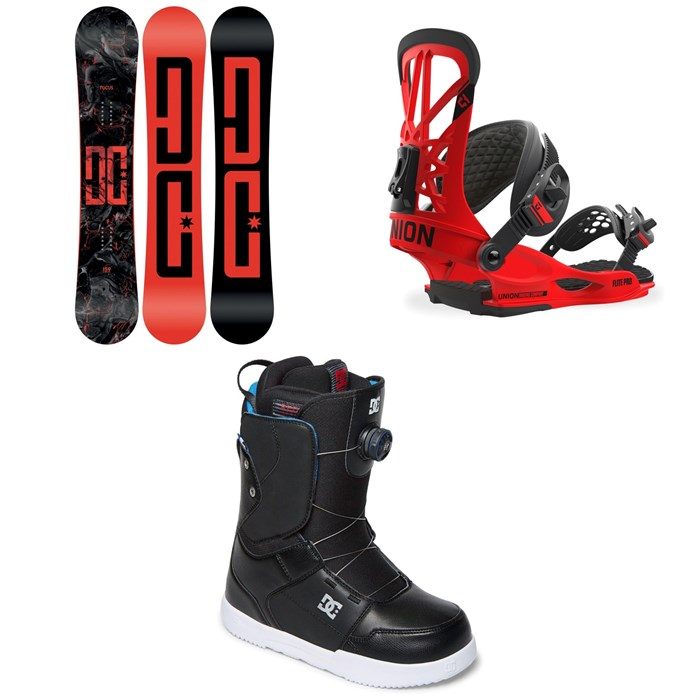 DC - Focus Snowboard + Union Flite Pro Snowboard Bindings + DC Scout Boa Snowboard Boots 2018