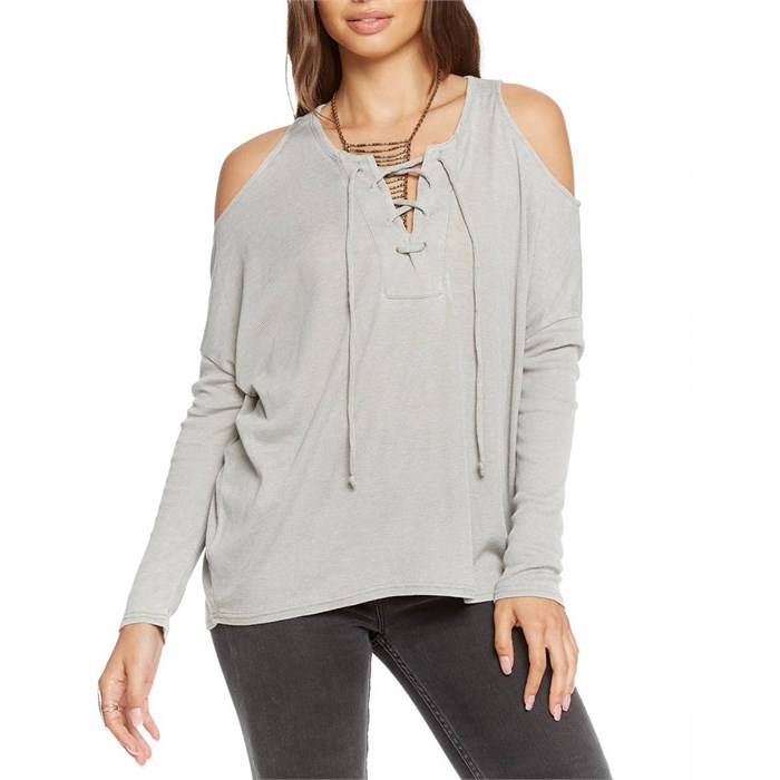 Chaser - Vintage Rib Lace Front Cold Shoulder Dolman Top - Women's