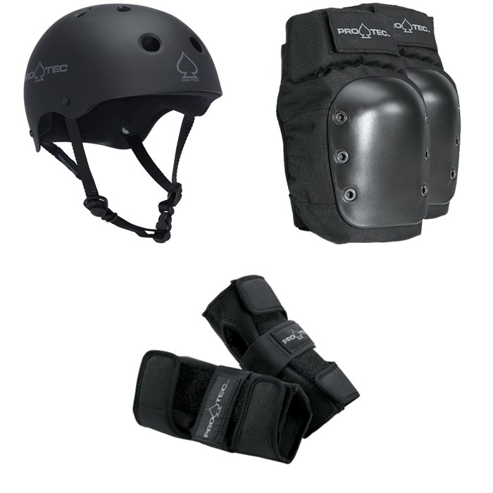Pro-Tec - The Classic EPS Skateboard Helmet + Pro-Tec Street Skateboard Knee Pads + Pro-Tec Street Skateboard Wrist Pads