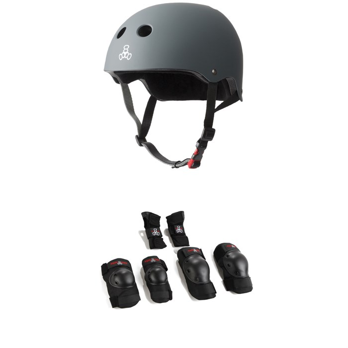 Triple 8 - The Certified Sweatsaver Skateboard Helmet + Triple 8 Saver Series High Impact 3 Pack Adult Skateboard Pad Set