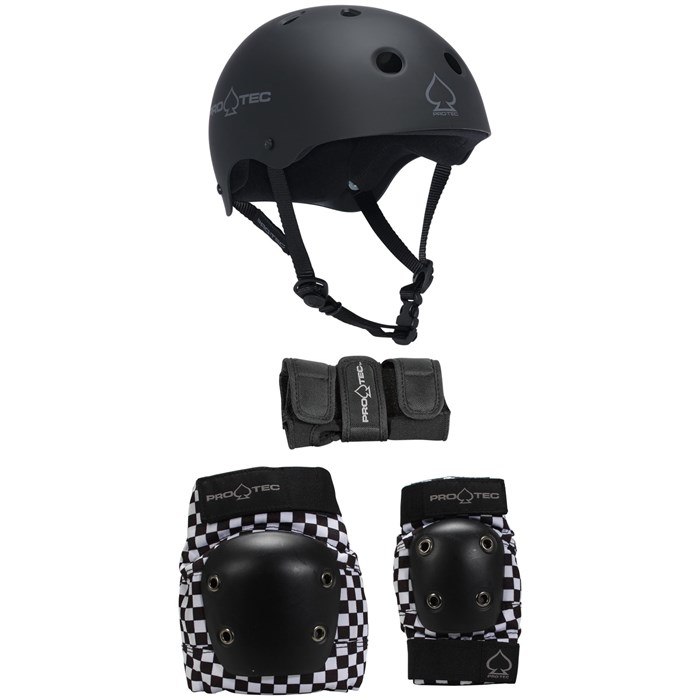 Pro-Tec - The Classic EPS Skateboard Helmet + Pro-Tec Street Gear Junior Skateboard Pads 3-Pack - Big Kids'