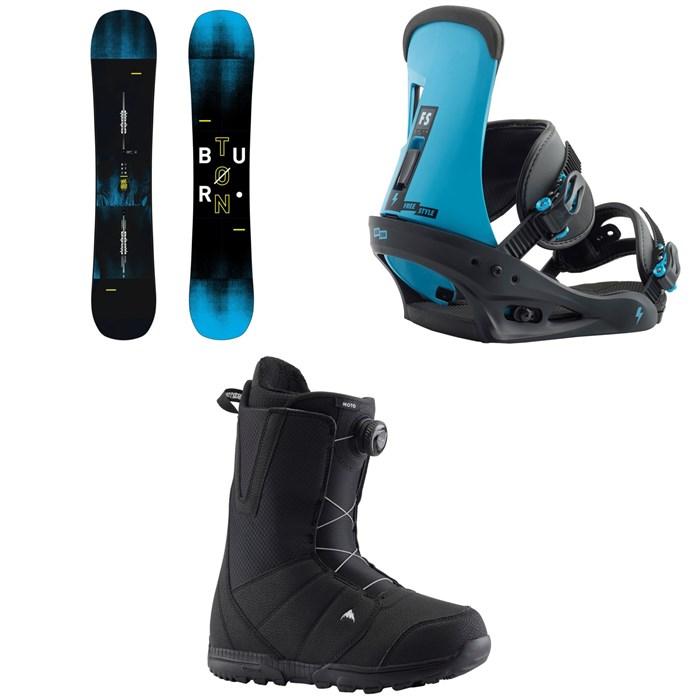 Burton - Instigator Snowboard + Burton Freestyle Snowboard Bindings + Burton Moto Boa Snowboard Boots 2019