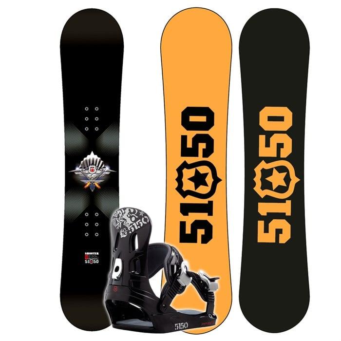 b4d1bf52338e 5150 Shooter Jr. Snowboard + FF1500 (Black) Bindings - Boy s 2008
