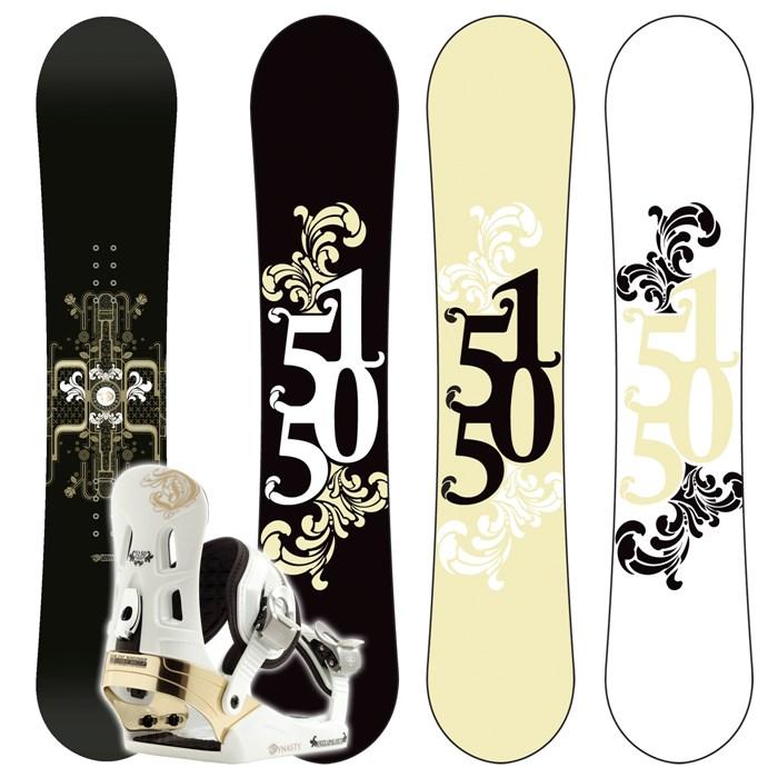 5150 Dynasty Snowboard + Dynasty (White) Bindings