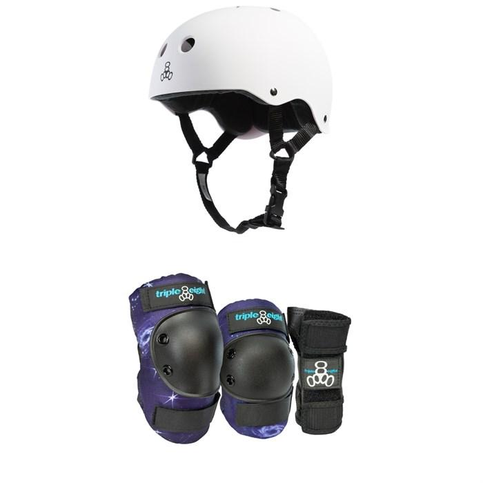 Triple 8 - Brainsaver w/ Sweatsaver Liner Skateboard Helmet + Triple 8 Galaxy Skateboard Pad Set