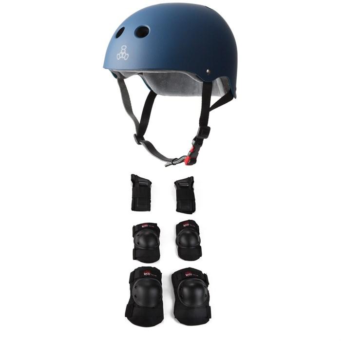 Triple 8 - The Certfied Sweatsaver Skateboard Helmet + Triple 8 Little Tricky Jr. Skateboard Pad Set