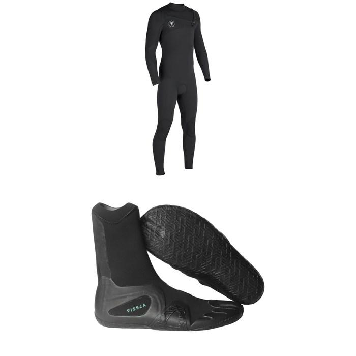 Vissla - 7 Seas 4/3 Chest Zip Wetsuit + Vissla 7 Seas 3mm Split Toe Booties