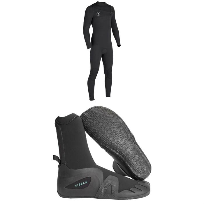 Vissla - 7 Seas 4/3 Chest Zip Wetsuit + Vissla 7 Seas 5mm Round Toe Booties
