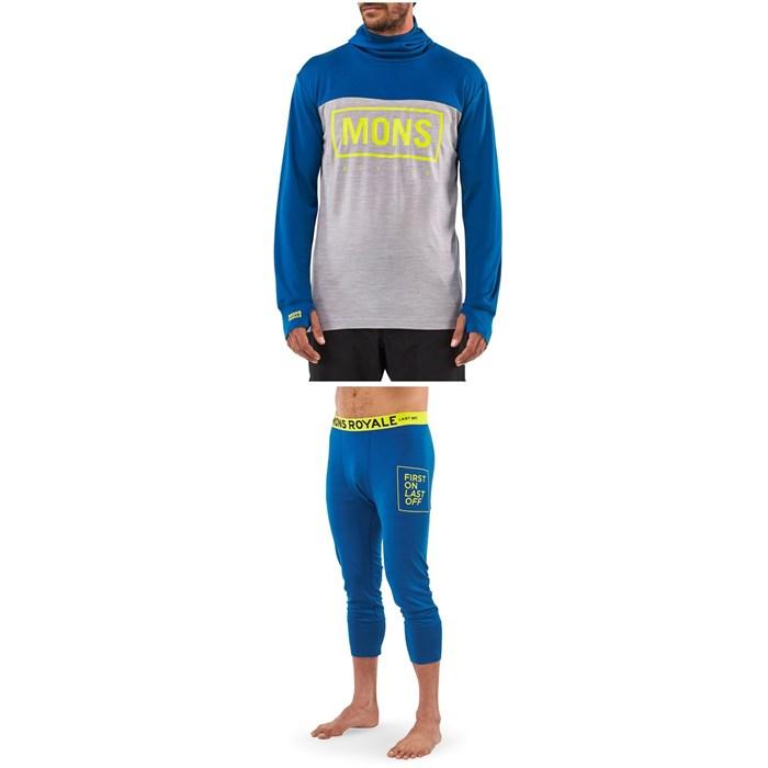 MONS ROYALE - Yotei Powder Hood Long-Sleeve Top + Shaun-Off 3/4 Leggings