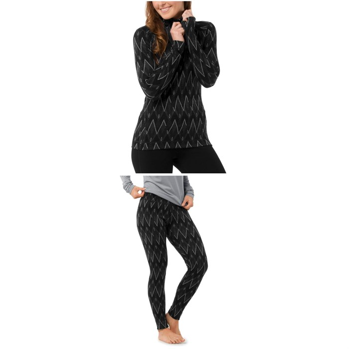 Smartwool - Merino 250 Baselayer Pattern 1/4 Zip Top + Merino 250 Baselayer Pattern Pants - Women's