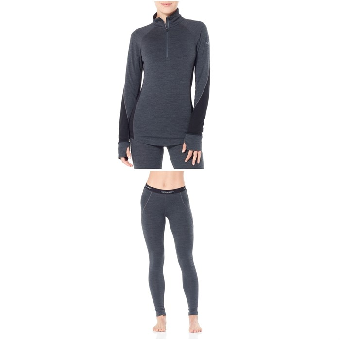 Icebreaker - Zone 260 Midweight 1/2 Baselayer Top + Zone 260 Midweight Baselayer Bottoms - Women's