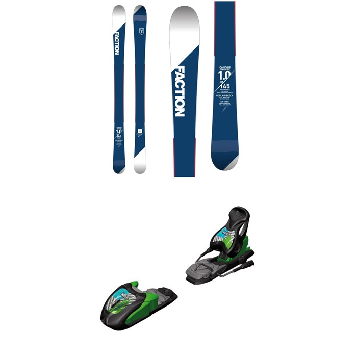 Faction - Candide 1.0 Jr. Skis - Boys' 2018 + Marker M7.0 Free Ski Bindings 2017