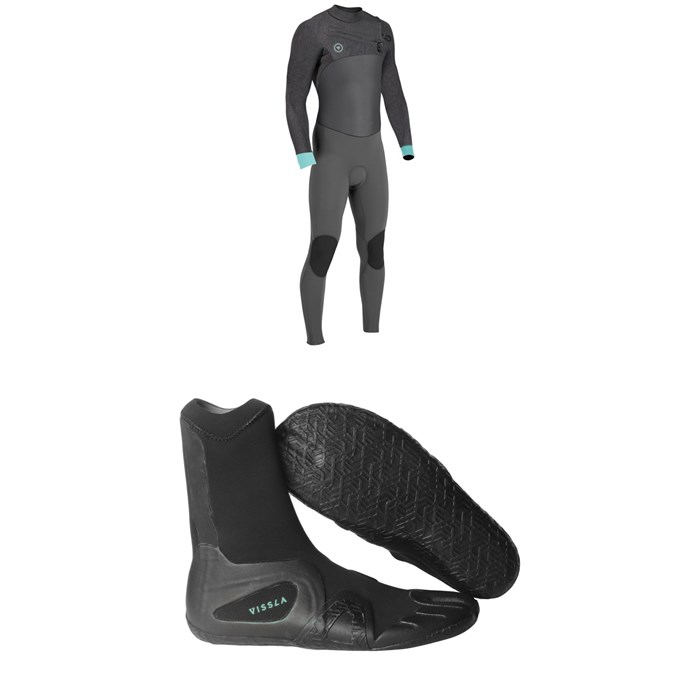 Vissla - Seven Seas 4/3 50/50 Wetsuit + Vissla 7 Seas 3mm Split Toe Booties