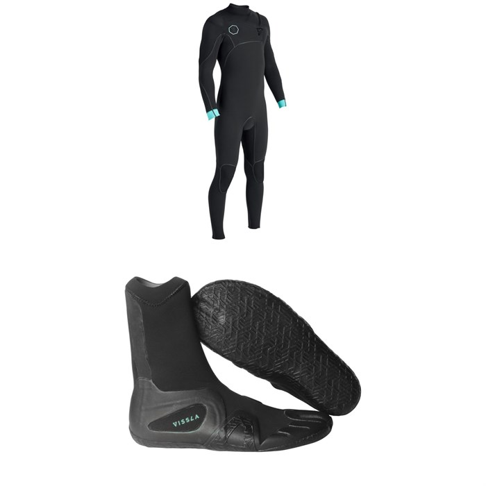 Vissla - North Seas 4/3 Chest Zip Wetsuit + Vissla 7 Seas 3mm Split Toe Booties
