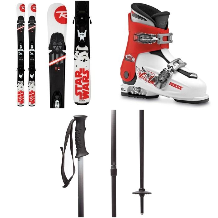 Rossignol - Star Wars Skis + Kid-X 4 Bindings - Kids' + Roces Idea Adjustable Alpine Ski Boots (19-22) - Kids' + evo Lil Send'r Adjustable Ski Poles - Little Kids'