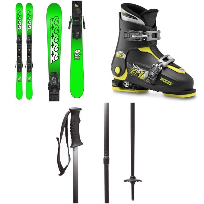 K2 - Juvy Skis + Marker FDT 4.5 Bindings - Little Boys'  + Roces Idea Adjustable Alpine Ski Boots (19-22) - Kids' + evo Lil Send'r Adjustable Ski Poles - Little Kids'