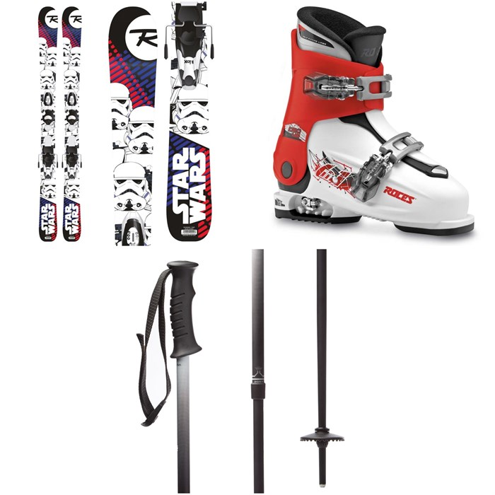 Rossignol - Star Wars Skis + Kid-X4 Bindings - Kids' + Roces Idea Adjustable Alpine Ski Boots (19-22) - Kids' + evo Lil Send'r Adjustable Ski Poles - Little Kids'