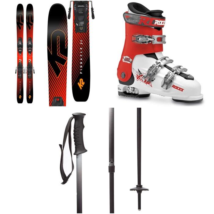 K2 - Pinnacle Jr Skis + Marker FDT 7.0 Bindings - Boys' + Roces Idea Free Adjustable Alpine Ski Boots (22.5-25.5) - Kids' + evo Lil Send'r Adjustable Ski Poles - Little Kids'