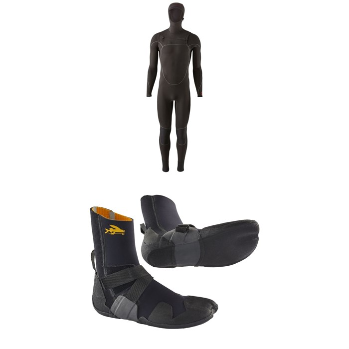 Patagonia - R4 Yulex Front Zip Hooded Wetsuit + Patagonia R3 Yulex Split Toe Wetsuit Boots